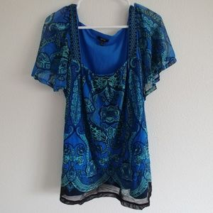Apt 9 blue & green blouse